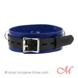 Collier de Bondage de Luxe en Cuir Noir et Bleu