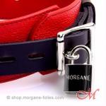 Collier de Bondage de Luxe en Cuir Noir et Rouge