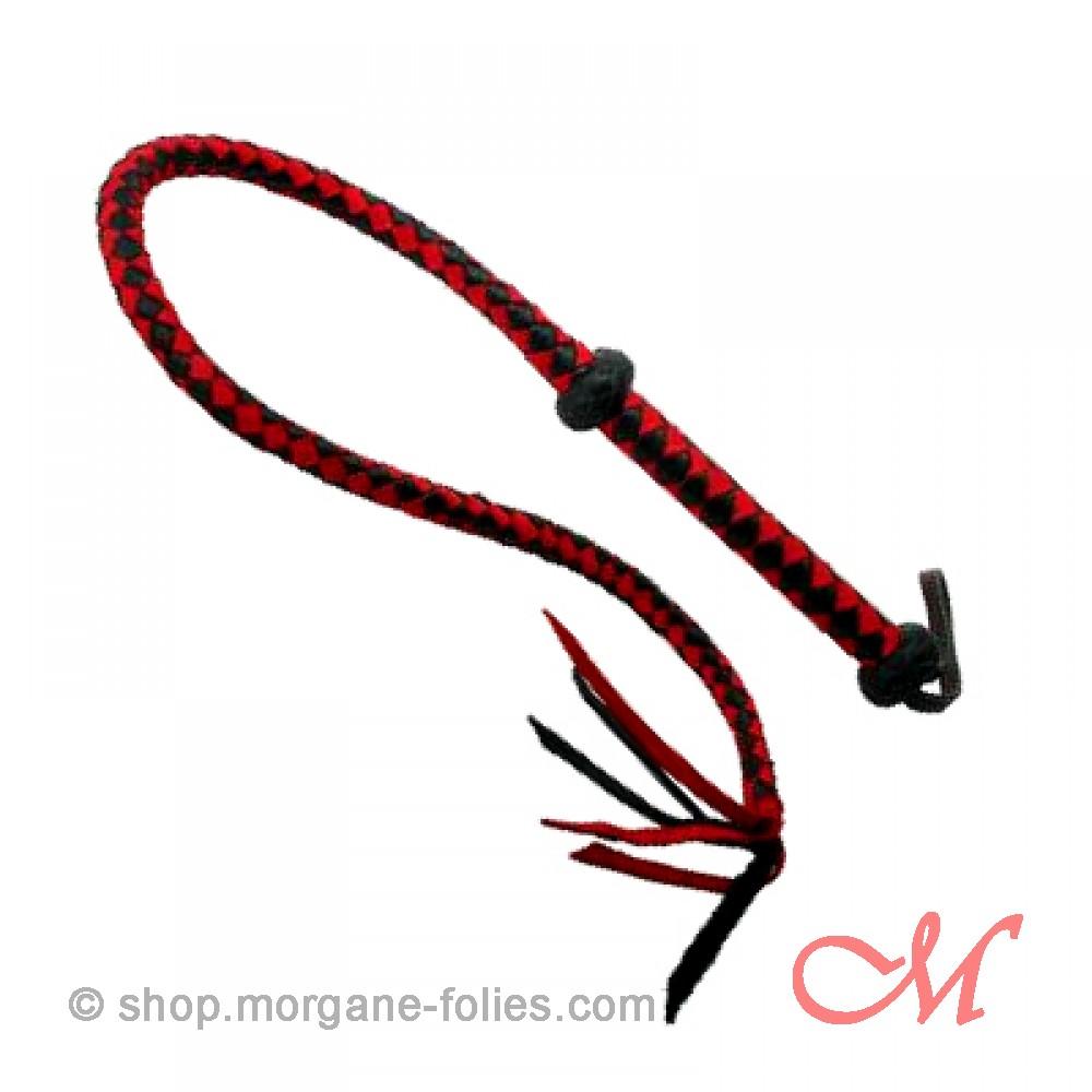 Fouet en Cuir Rouge et Noir 115 cm