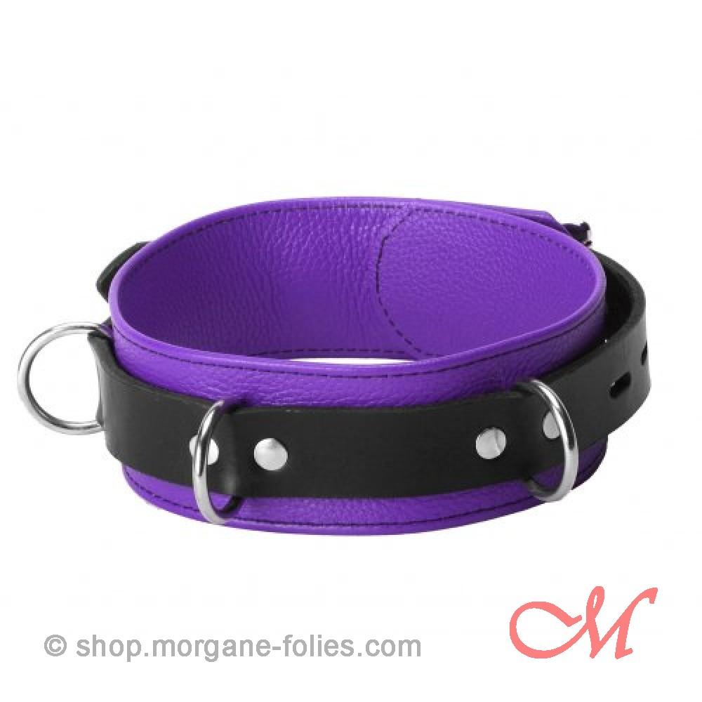 Collier de Bondage de Luxe en Cuir Noir et Violet
