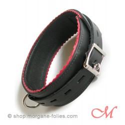Collier de Bondage de Luxe en Cuir Noir et Rouge M