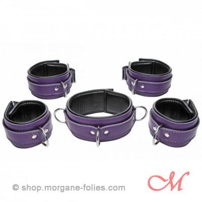 Ensemble de bondage en cuir violet 5 pièces verrouillable
