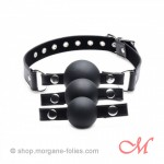 Bâillon Boules Interchangeables Silicone Noir  Interchangeable