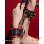 Menottes de Luxe Cuir Noir et Rouge
