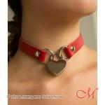 Collier de Soumission en Cuir Rouge avec cadenas Coeur