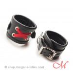Bracelets Cuir Lacés Rouges